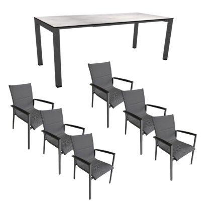 """Gartenmöbel-Set mit Stern Ausziehtisch 160/210x90 cm und Stuhl """"Foxx"""" von Tierra, Aluminium anthrazit, HPL Zement hell"""