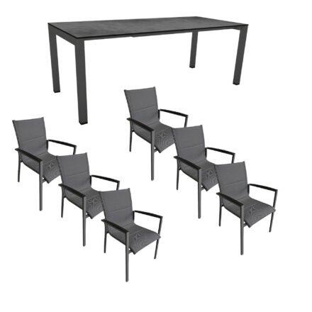 """Gartenmöbel-Set mit Stern Ausziehtisch 160/210x90 cm und Stuhl """"Foxx"""" von Tierra, Aluminium anthrazit, HPL Zement"""