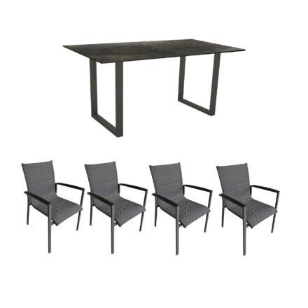 """Gartenmöbel-Set mit Stern Kufentisch 160x90 cm und Stuhl """"Foxx"""" von Tierra, Aluminium anthrazit, HPL Dark Marble"""