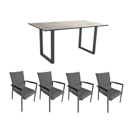 """Gartenmöbel-Set mit Stern Kufentisch 160x90 cm und Stuhl """"Foxx"""" von Tierra, Aluminium anthrazit, HPL Metallic grau"""
