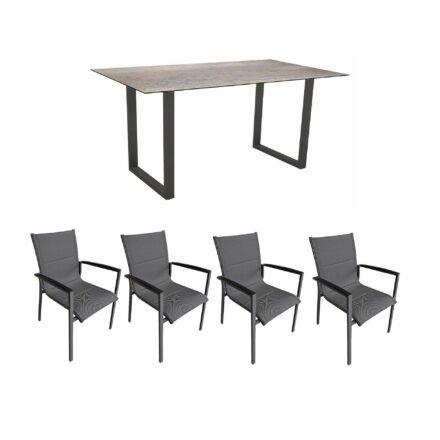 """Gartenmöbel-Set mit Stern Kufentisch 160x90 cm und Stuhl """"Foxx"""" von Tierra, Aluminium anthrazit, HPL Smoky"""