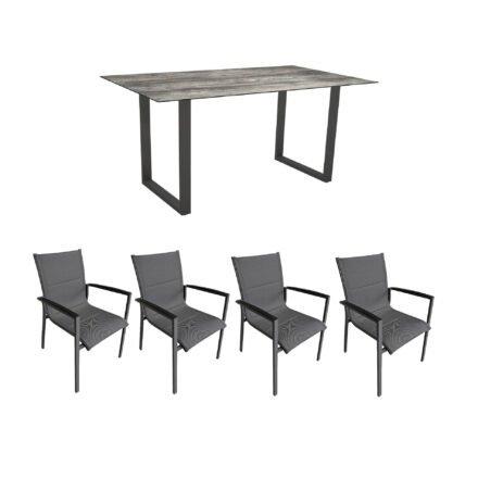 """Gartenmöbel-Set mit Stern Kufentisch 160x90 cm und Stuhl """"Foxx"""" von Tierra, Aluminium anthrazit, HPL Tundra grau"""