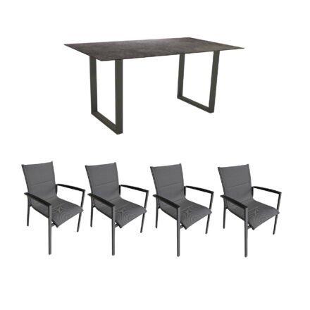 """Gartenmöbel-Set mit Stern Kufentisch 160x90 cm und Stuhl """"Foxx"""" von Tierra, Aluminium anthrazit, HPL Vintage grau"""