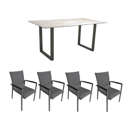 """Gartenmöbel-Set mit Stern Kufentisch 160x90 cm und Stuhl """"Foxx"""" von Tierra, Aluminium anthrazit, HPL Zement Hell"""