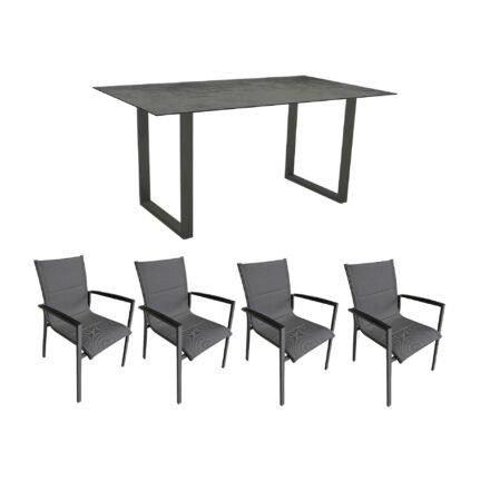 """Gartenmöbel-Set mit Stern Kufentisch 160x90 cm und Stuhl """"Foxx"""" von Tierra, Aluminium anthrazit, HPL Zement"""