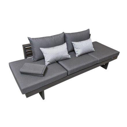 """Stern """"New Holly"""" Lounge im Best-of Set, Aluminium anthrazit, Textilen karbon, Bezug Outdoorstoff schiefergrau, inkl. 3 Sitzkissen, 2 Rückenkissen, 2 Dekokissen und 1 Kuscheldecke"""
