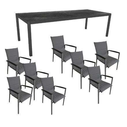 """Gartenmöbel-Set mit Stern Gartentisch 250x100 cm und Stuhl """"Foxx"""" von Tierra, Aluminium anthrazit, HPL Dark Marble"""