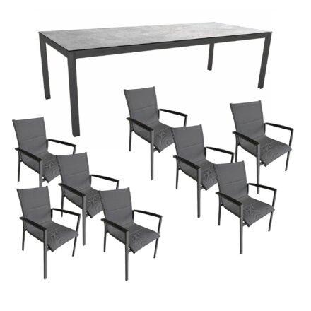 """Gartenmöbel-Set mit Stern Gartentisch 250x100 cm und Stuhl """"Foxx"""" von Tierra, Aluminium anthrazit, HPL Metallic Grau"""