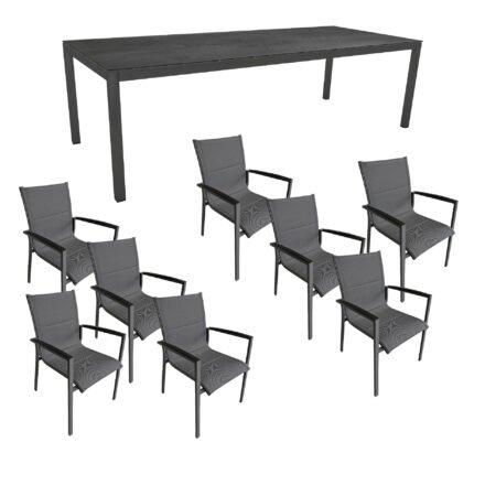 """Gartenmöbel-Set mit Stern Gartentisch 250x100 cm und Stuhl """"Foxx"""" von Tierra, Aluminium anthrazit, HPL Nitro"""