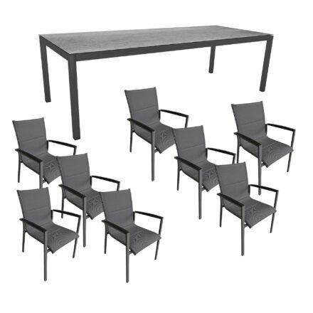 """Gartenmöbel-Set mit Stern Gartentisch 250x100 cm und Stuhl """"Foxx"""" von Tierra, Aluminium anthrazit, HPL Smoky"""