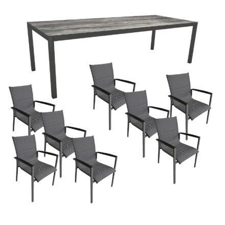 """Gartenmöbel-Set mit Stern Gartentisch 250x100 cm und Stuhl """"Foxx"""" von Tierra, Aluminium anthrazit, HPL Tundra Grau"""