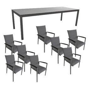 """Gartenmöbel-Set mit Stern Gartentisch 250x100 cm und Stuhl """"Foxx"""" von Tierra, Aluminium anthrazit, HPL Uni Grau"""