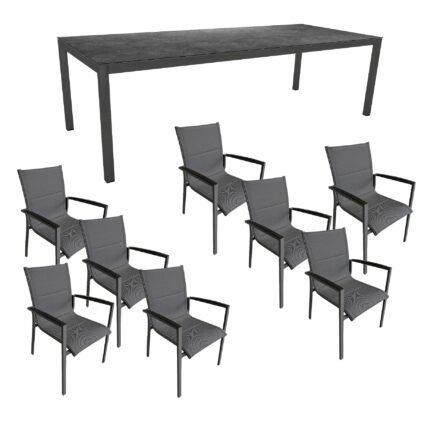 """Gartenmöbel-Set mit Stern Gartentisch 250x100 cm und Stuhl """"Foxx"""" von Tierra, Aluminium anthrazit, HPL Vintage Grau"""