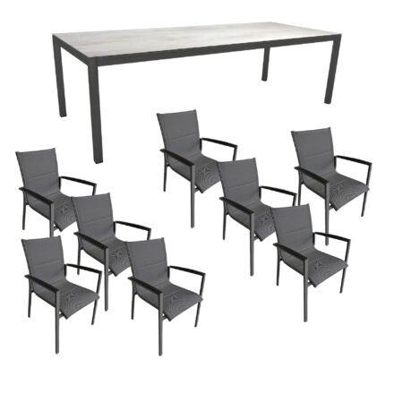 """Gartenmöbel-Set mit Stern Gartentisch 250x100 cm und Stuhl """"Foxx"""" von Tierra, Aluminium anthrazit, HPL Zement Hell"""
