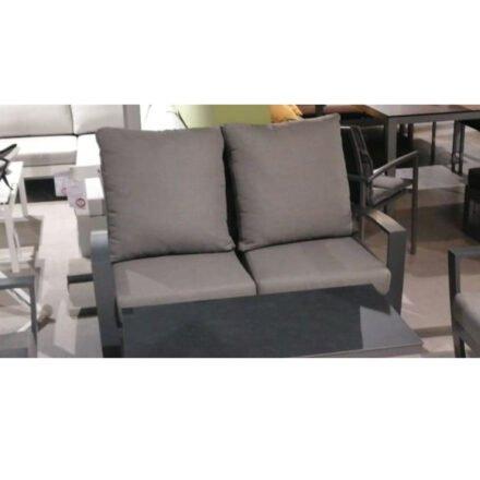 """Tierra Outdoor """"Valencia"""" 2-Sitzer Loungesofa, Gestell Aluminium anthrazit, Textilgewebe silber-schwarz, Kissen hellgrau - Ausstellung Lauchringen"""