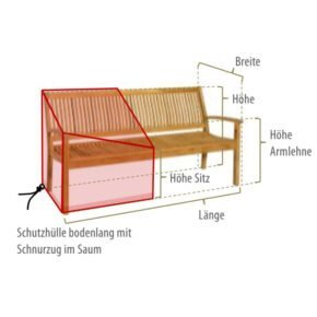 Gartenkultur Wunschmaß-Schutzhülle für Gartenbänke mit Rückenlehne und Armlehne, bodenlang