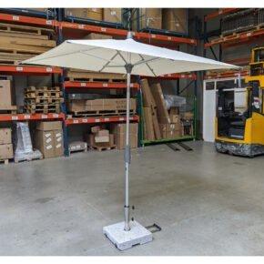 """GLATZ """"ALU-SMART easy"""" Sonnenschirm rechteckig, Aluminium natureloxiert, Dessin 150 - Eggshell, Ausstellung Karlsruhe"""