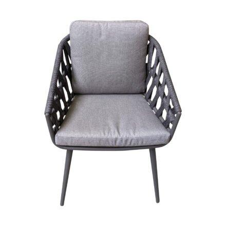 "Jati&Kebon Dining-Sessel ""Palm"", Gestell Aluminium eisengrau, Rope cross weaving schwarz mit Kissen Natté Charcoal Chiné"