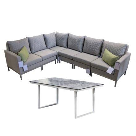 "Kettler Set mit ""Ego Modular Casual Dining"" Lounge & ""Skate"" Tisch, Alu silber, Polster hellgrau meliert, Tischplatte HPL anthrazit (Dekokissen separat)"