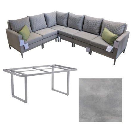 """Kettler Set mit """"Ego Modular Casual Dining"""" Lounge & """"Skate"""" Tisch, Alu silber, Polster hellgrau meliert, Tischplatte HPL silber-grau (Dekokissen separat)"""