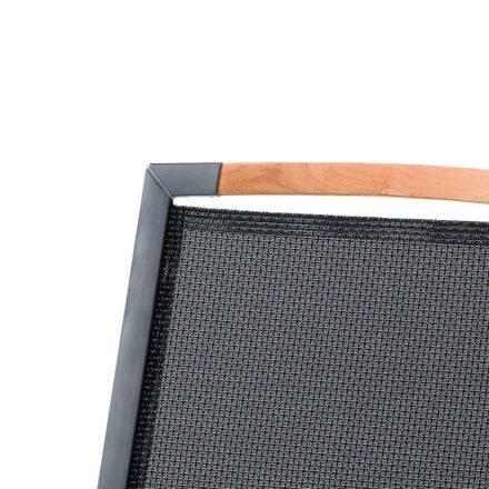 """Sieger Stapelsessel """"Catena"""", Gestell Aluminium eisengrau, Sitzfläche Textilgewebe grau, Armlehnen Teakholz, Detail Rückenlehne"""