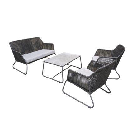 "SIT Mobilia ""Allanis"" Loungeset, Gestell Aluminium eisengrau, Polyrattan-Geflecht Twisted Ebony, Kissen Olefin white/grey"