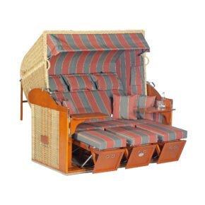 "Sonnenpartner ""Classic"" Strandkorb, 3-Sitzer, PE-Kunststoffgeflecht Rattanoptik,, Markisenstoff Dessin 28"