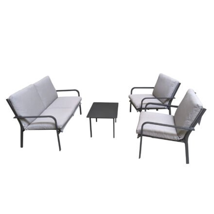 "Jati&Kebon ""Dransy"" Loungeset 4-tlg., Aluminium eisengrau, Textilgewebe silbergrau mit Auflagen Silver Grey Basic"