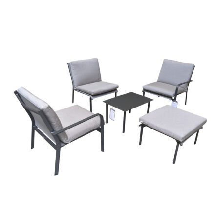 "Jati&Kebon ""Dransy"" Loungeset 5-tlg., Aluminium eisengrau, Textilgewebe silbergrau mit Auflagen Silver Grey Basic"