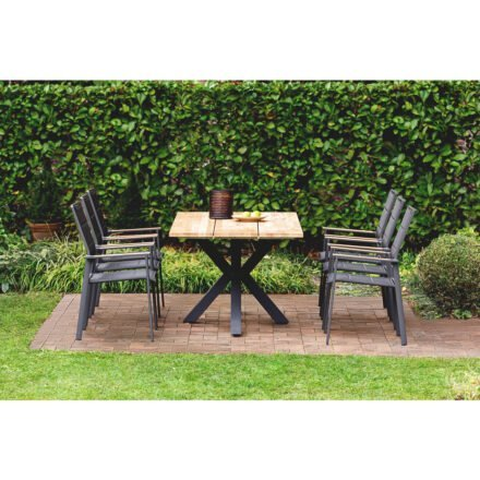 """Niehoff """"Alto"""" Gartentisch, Gestell Aluminium anthrazit, Tischplatte Teak mit Stuhl """"Revent"""""""