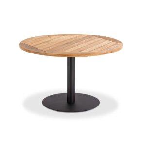 """Niehoff Tisch """"Bistro"""", Gestell Stahl anthrazit, Tischplatte Teak geölt, rund, 125 cm"""