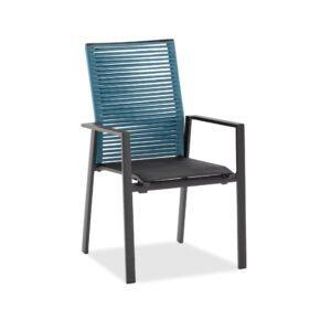 """Niehoff """"Cervo"""" Gartenstuhl, Gestell Aluminium anthrazit, Sitzfläche Textilen gepolstert schwarz, Rückenlehne Rope blau"""