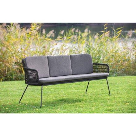 """Niehoff """"Kubu"""" Gartenbank, Gestell Aluminium anthrazit, Kordelflechtung grau, mit Sitz- und Rückenkissen Southend anthrazit"""