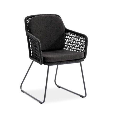"""Niehoff """"Kubu"""" Gartenstuhl, Gestell Aluminium anthrazit, Kordelflechtung grau, mit Sitz- und Rückenkissen Southend anthrazit"""