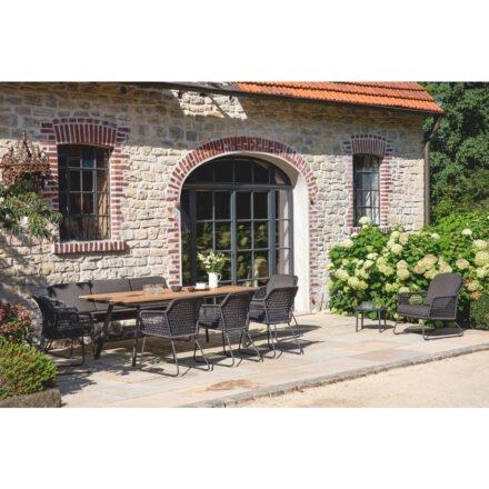 """Niehoff """"Kubu"""" Gartentisch, Gartenstuhl und -bank, Gestell Aluminium anthrazit, abgerundete Tischplatte mit Teak-Leisten"""