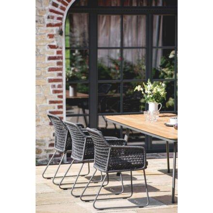 """Niehoff """"Kubu"""" Gartentisch und Gartenstuhl, Gestell Aluminium anthrazit, abgerundete Tischplatte mit Teak-Leisten"""