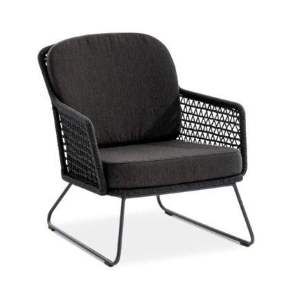 "Niehoff ""Kubu"" Loungesessel, Gestell Aluminium anthrazit, Kordelflechtung grau, mit Sitz- und Rückenkissen Southend anthrazit"