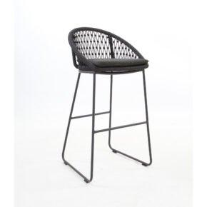 "Niehoff ""Kuta"" Barstuhl, Gestell Aluminium anthrazit, Kordelflechtung grau, inkl. Sitzkissen Praia Charcoal, Sitzhöhe 79 cm"