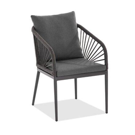 """Niehoff """"Pino"""" Gartenstuhl, Aluminium anthrazit, Rope, Sitz- und Rückenkissen dunkelgrau"""