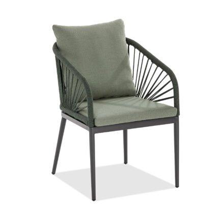 """Niehoff """"Pino"""" Gartenstuhl, Aluminium anthrazit, Rope, Sitz- und Rückenkissen grün"""
