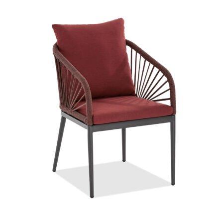 """Niehoff """"Pino"""" Gartenstuhl, Aluminium anthrazit, Rope, Sitz- und Rückenkissen rot"""