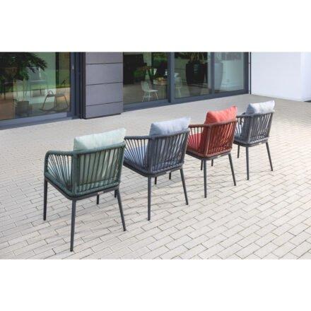 """Niehoff """"Pino"""" Gartenstuhl, Aluminium anthrazit, Rope, Sitz- und Rückenkissen rot, grün, anthrazit, dunkelgrau"""