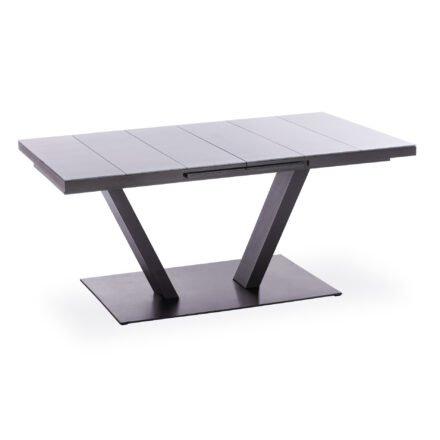 """Niehoff """"Plank"""" Ausziehtisch, Gestell Aluminium anthrazit, Tischplatte ES-Glasauflage hellgrau"""