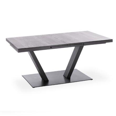 """Niehoff """"Plank"""" Ausziehtisch, Gestell Aluminium anthrazit, Tischplatte Glasauflage Holzoptik grau"""