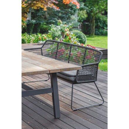 """Niehoff """"Tavo"""" Gartentisch, Gestell Aluminium anthrazit, Tischplatte Teakholz mit Baumkante und Bank """"Kubu"""""""