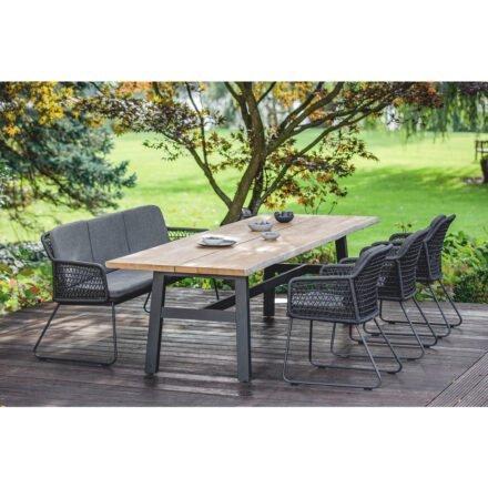 """Niehoff """"Tavo"""" Gartentisch, Gestell Aluminium anthrazit, Tischplatte Teakholz mit Baumkante mit Stuhl und Bank """"Kubu"""""""