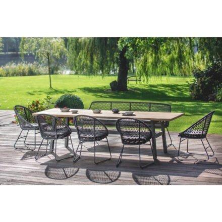 """Niehoff """"Tavo"""" Gartentisch, Gestell Aluminium anthrazit, Tischplatte Teakholz mit Baumkante mit Stuhl """"Kuta"""" und Bank """"Kubu"""""""