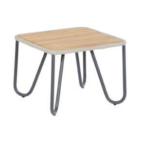 """SonnenPartner """"Charité"""" Lounge Beistelltisch, Gestell Aluminium, Tischplatte Teakholz mit Ropegeflecht silbergrau"""