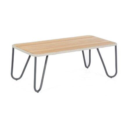 """SonnenPartner """"Charité"""" Loungetisch, Gestell Aluminium, Tischplatte Teakholz mit Ropegeflecht silbergrau"""