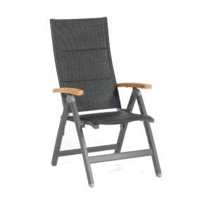 """SonnenPartner """"Sierra"""" Klappsessel, Gestell Aluminium anthrazit, Sitzfläche Polstertextilen schwarz"""